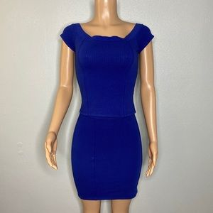 LAmade NWT Tokyo Blue 2pc Fitted Top/Skirt Size S